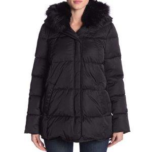 *NWT* T Tahari Faux Fur Trim Puffer Jacket